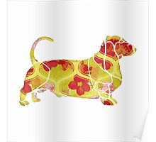 Garden Charm IV:  Shabby Floral and Geometric in Bright Orange and Yellow with Dog Poster