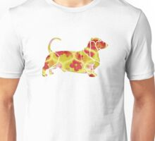 Garden Charm IV:  Shabby Floral and Geometric in Bright Orange and Yellow with Dog Unisex T-Shirt