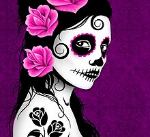 Purple Day of the Dead Sugar Skull Girl by Jeff Bartels