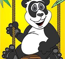 Yellow Panda Bear Cartoon Swing by Graphxpro