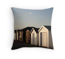 Beach huts at sunset Throw Pillow