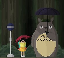 Totoro Bus Stop Pixelated by alzepa