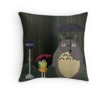 Totoro Bus Stop Pixelated Throw Pillow