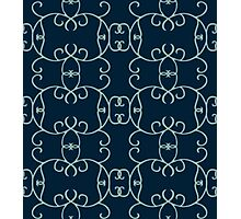 Curly Round Design on Navy Photographic Print