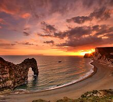 Durdle Sunset - HDR - Jurassic Coast World Heritage Site Series by LeeMartinImages