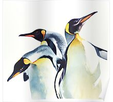 """Penguin Trio"" Wildlife Watercolor Poster"