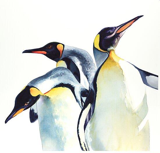 """""""Penguin Trio"""" Wildlife Watercolor by Paul Jackson"""