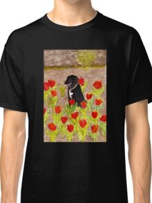 Black Dog in Red Tulips Classic T-Shirt