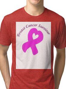Breast Cancer Heart Survivor Tri-blend T-Shirt