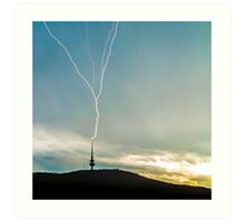 Lightning Strikes Tower During Storm Art Print