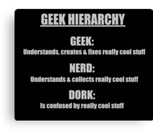 Geek Hierarchy Shirt Canvas Print