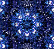"""On the Edge of Bliss"" (Blue Tones) - Geometric Abstract Mandala  by Leah McNeir"
