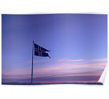 Icelandic flag, Thingvellir, Sudurland, Iceland Poster