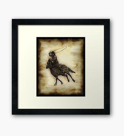 Rodeo Cowboy Steer Roper Framed Print