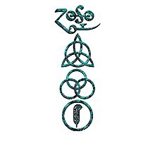 EXTREME DISTRESSED TRIQUETRA - teal minerals V Photographic Print