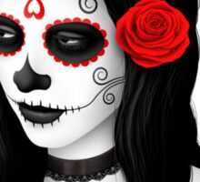 Day of the Dead Girl with Red Roses  Sticker