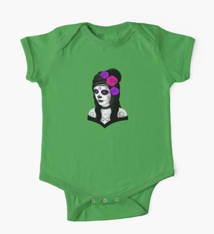 Day of the Dead Girl with Purple Roses  One Piece - Short Sleeve