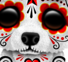 Red Day of the Dead Sugar Skull Polar Bear on Yellow Sticker