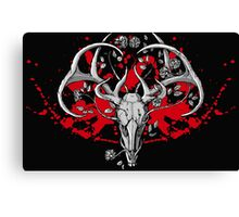 black and white deer skull with horns in graphic Canvas Print