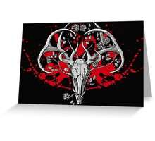 black and white deer skull with horns in graphic Greeting Card