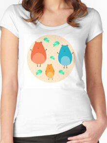 Cartoon funny hamsters Women's Fitted Scoop T-Shirt