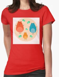 Cartoon funny hamsters Womens Fitted T-Shirt