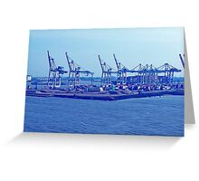 Harbor Cranes in Hamburg Greeting Card