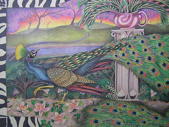 Peacock in garden by JacquelynsArt