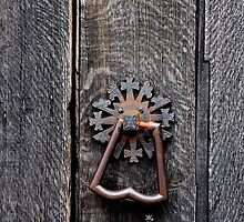 Church Door Handle, of Harleston St John Church in Norfolk UK. by Karen  Betts