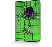 Robotic Bowler Hat - stained glass villains Greeting Card