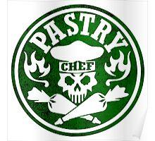 Pastry Chef Skull Logo Green Poster