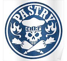 Pastry Chef Skull Logo Blue Poster