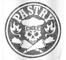 Pastry Chef Skull Logo Gray Poster