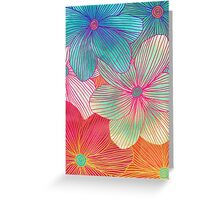 Between the Lines - tropical flowers in pink, orange, blue & mint Greeting Card