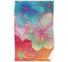 Between the Lines - tropical flowers in pink, orange, blue & mint Poster