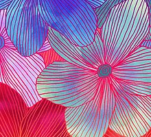 Between the Lines 2 - tropical flowers in purple, pink, blue & orange by micklyn