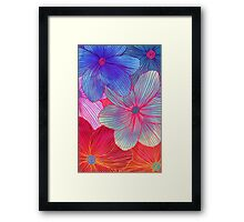 Between the Lines 2 - tropical flowers in purple, pink, blue & orange Framed Print