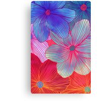 Between the Lines 2 - tropical flowers in purple, pink, blue & orange Canvas Print