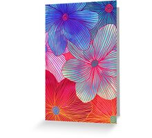 Between the Lines 2 - tropical flowers in purple, pink, blue & orange Greeting Card