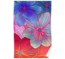 Between the Lines 2 - tropical flowers in purple, pink, blue & orange Poster