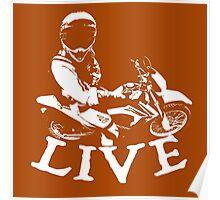 Motocross T Shirt White Poster