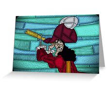 Neverland Captain - stained glass villains Greeting Card