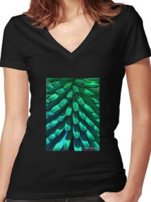 Petals Abstract Women's Fitted V-Neck T-Shirt
