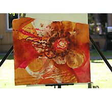 Burnt sienna, watercolor on torn paper Photographic Print