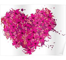 heart made of flowers Poster