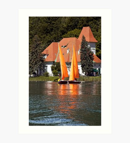 Worther See - Orange Sails Art Print