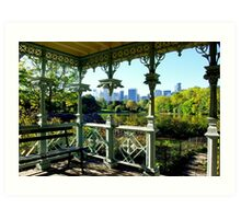 Central Park New York, Wedding Gazebo, View on Manhattan Art Print