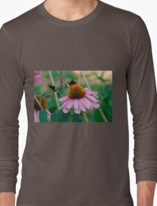 Echinacea Purpurea with Bees  Long Sleeve T-Shirt