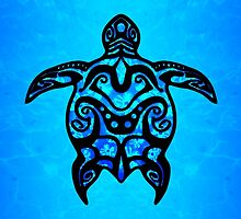 Tribal Turtle Hibiscus by BailoutIsland