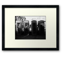 Telephone booths in London Framed Print